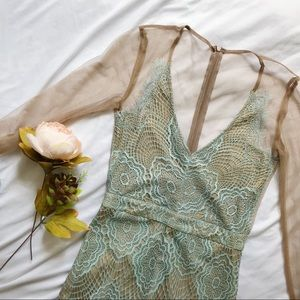 Blue Lace and Mesh v neck long sleeve mini dress